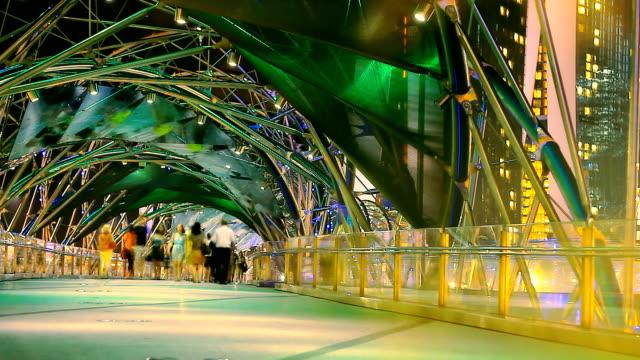 Colorful Crowd Night Bridge