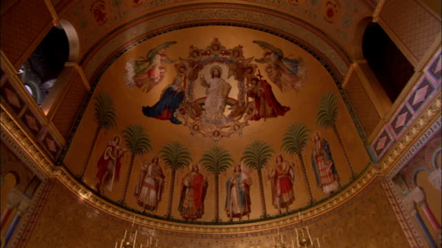 A colorful fresco decorates the ceiling of Neuschwanstein Castle. Available in HD.