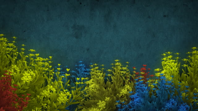 Colorful Growing Flowers With Grunge Background