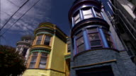 Colorful homes characterize a suburban neighborhood in San Francisco. Available in HD.