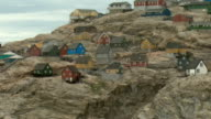 WS PAN Colorful houses on rocky coast, Uummannaq, Greenland