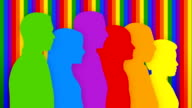 Colorful loopable silhouettes of people walking toward the same goal.