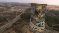 A colorful mural decorates a silo in Soweto, Johannesburg.