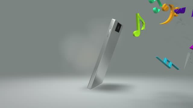 Bunte Musik Noten gebrochen Smartphone-Bildschirm