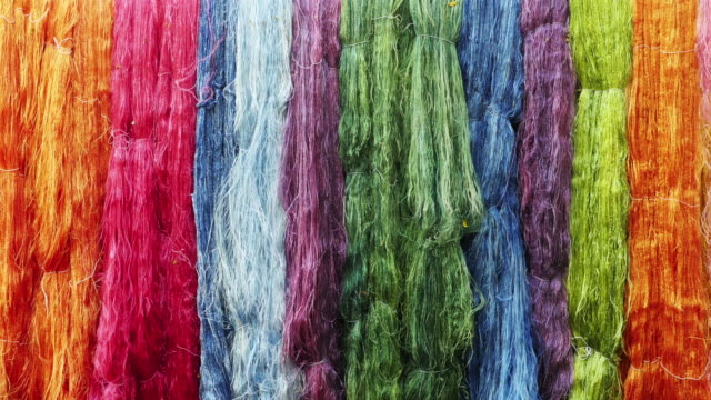 Colorful of raw silk thread