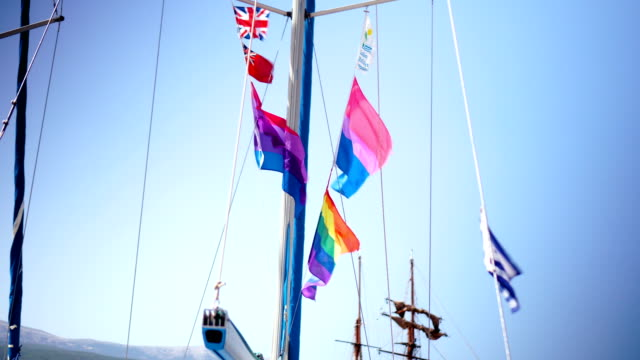 Colorful signal flags on a sailing boat
