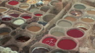 WS HA PAN Colorful stone vats in leather tannery, Fez, Morocco