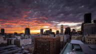 T/' Colorful Sunset over Downtown Los Angeles Historic District.