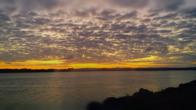 Colorful Sunset Time-lapse in a river of Ballina, New South Wales, Australia