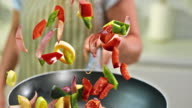 SLO MO colorful vegetable pan shake