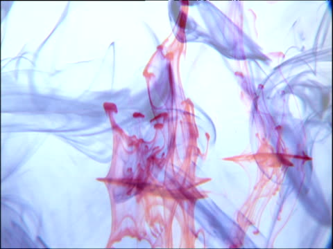 Coloured liquids swirling in clear water