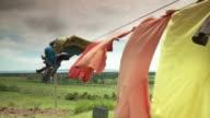 Colourful clothesline