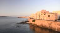 Colourful Sicilian houses on Ortigia Island at sunrise, Syracuse (Siracusa), Sicily, Italy, Europe