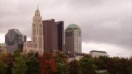 Columbus skyline on a windy day
