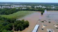 Columbus, Texas, kleine stad verwoest door de Orkaan Harvey luchtfoto Drone weergave