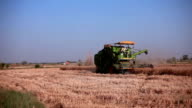 Combine harvester during wheat harvesting