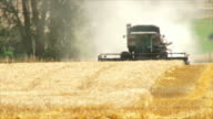 A combine harvester harvesting wheat near Joseph, Oregon