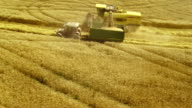 Combine Harvesting And Unloading The Wheat