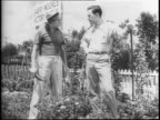 A Comedic Skit about neighbors and their Victory Gardens for food rationing / A man compliments his neighbor's tomato plants in his victory garden /...