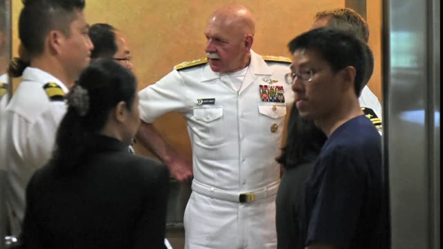 Commander of the US Pacific Fleet Admiral Scott Swift visits a hospital in Singapore where four injured sailors are recovering after the destroyer...