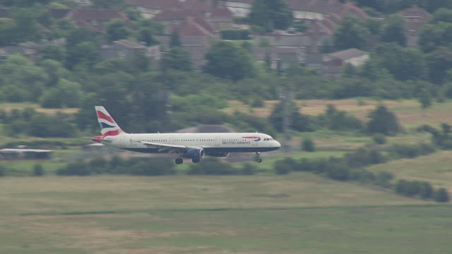 Commercial airliner landing at Heathrow Airport