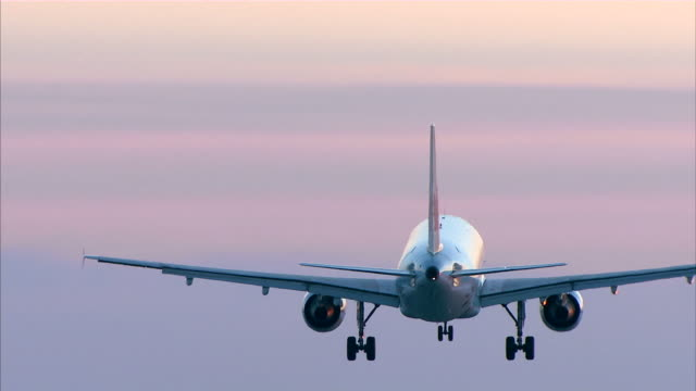 commercial airplane landing at dusk