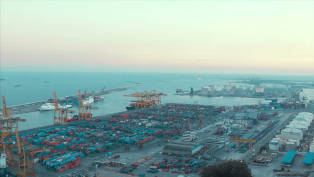 Commercial Dock With Containers And Cranes (normal speed)