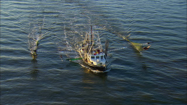 WS PAN POV AERIAL Commercial fishing boat moving in sea at dawn / New Orleans, Louisiana, USA