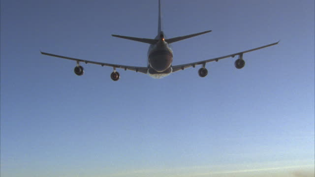 AERIAL AIR TO AIR, commercial jet flying, rear view
