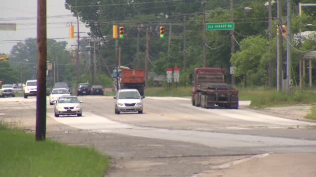 WGN Commercial semitrucks drive down road on July 21 2014 in Hammond Indiana