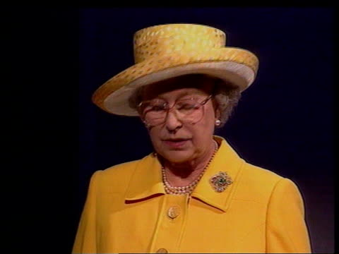 Commomwealth Heads of Government meeting ITN Queen at podium Queen speech My goodness I've been busy SIDE Queen at podium Queen speech cont'd Our...