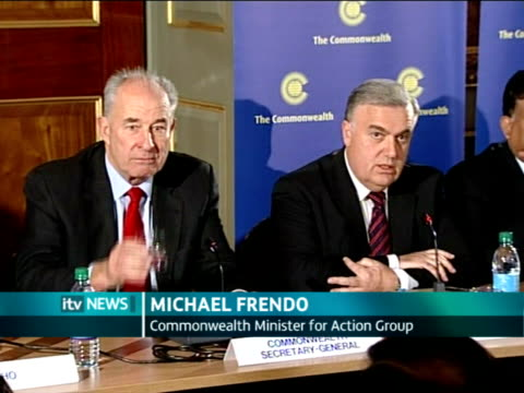Commonwealth foreign ministers meet to discuss possible suspension of Pakistan ENGLAND London PHOTOGRAPHY * * Michael Frendo press conference SOT...