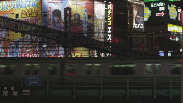 MS Commuter train crosses on bridge at night / Tokyo, Japan