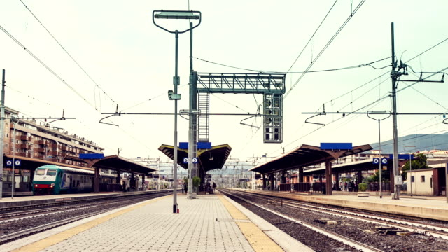 Commuters at the train station - Timelapse