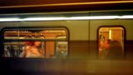 Commuters Boarding Subway Train
