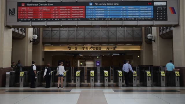 Commuters make their way through the Secaucus Junction train station to board New Jersey Transit trains on Thursday August 20 2015 Shots Shots of the...