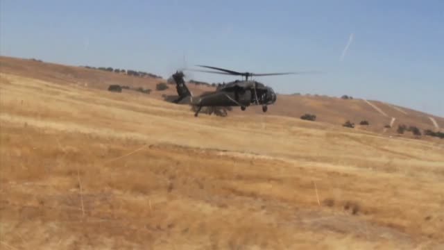 C Company 1/184th Infantry Battalion conducting Air Assault Training at Fort Hunter Liggett Calif UH60 Black Hawk helicopters from the A Company...