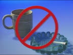 1991 composite prohibitory symbol over mug of coffee and burning cigarette in ash tray / AUDIO
