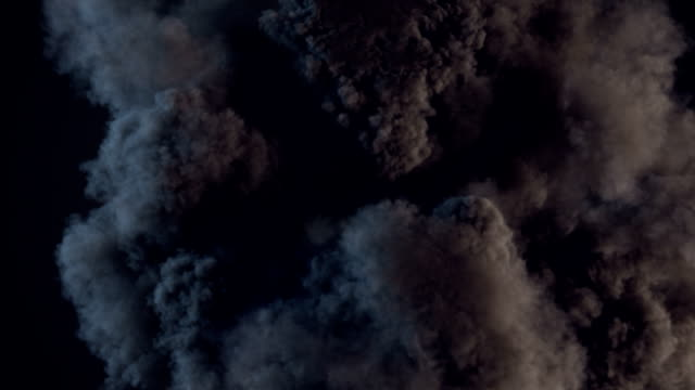 Composition with large explosions in dark. Alpha matte channel included. 3d rendering