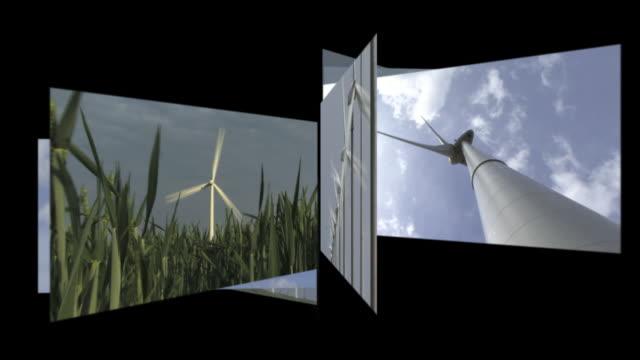 CGI Computer animation, carousel of wind turbines