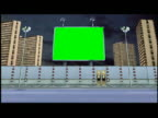 Computer generated image composite traffic passing green screen billboard and high-rises / time lapse clouds in background