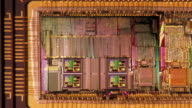 Computer generated image extreme close up zoom out circuit board