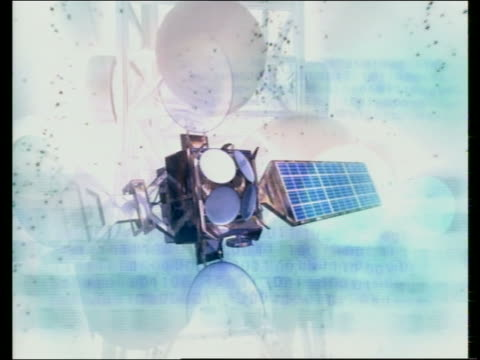 Computer generated image montage of satellites, satellite devices and satellite dishes