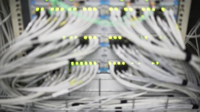 Computer Network Server Operating Rack Focus (4K/UHD)