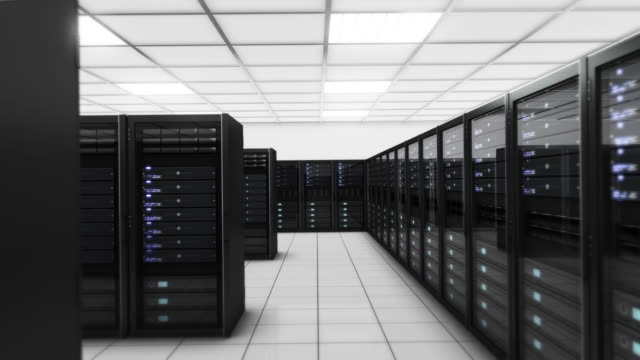 Computer-Server in Data Center entfernt. Endlos wiederholbar. Blue. Technik Hintergrund.