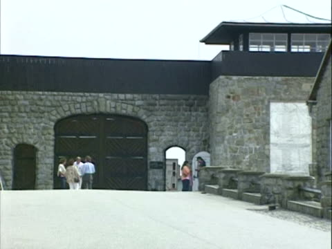 / concentration camp exterior camp entrance memorials and surrounding countryside