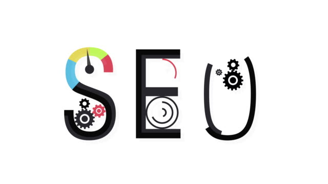 Concept of SEO word combined from elements and icons