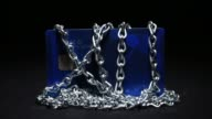 Conceptual broll of locks and chains wrapped around electronic devices and personal items of value to illustrate growing cyber security and identity...
