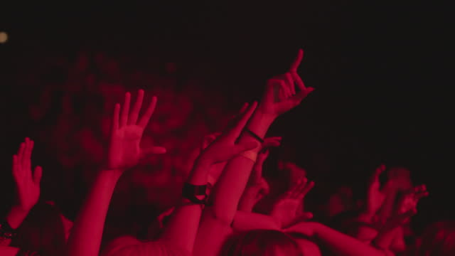 Concert Crowd Hands in Air Red