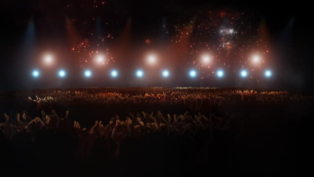 Concert with big crowd and fireworks